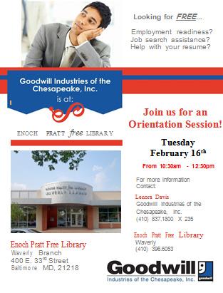 Job Readiness @ Pratt Library Orientation Session (Waverly) @ Waverly Pratt Library Branch   Baltimore   Maryland   United States
