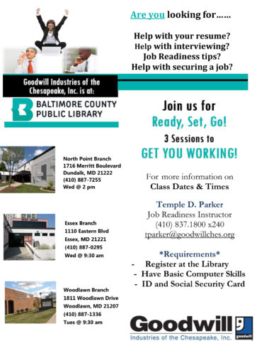 Job Readiness Classes @ the North Point Branch of the Baltimore Co. Public Library @ The North Point Branch of the Baltimore Co. Public Library | Dundalk | Maryland | United States