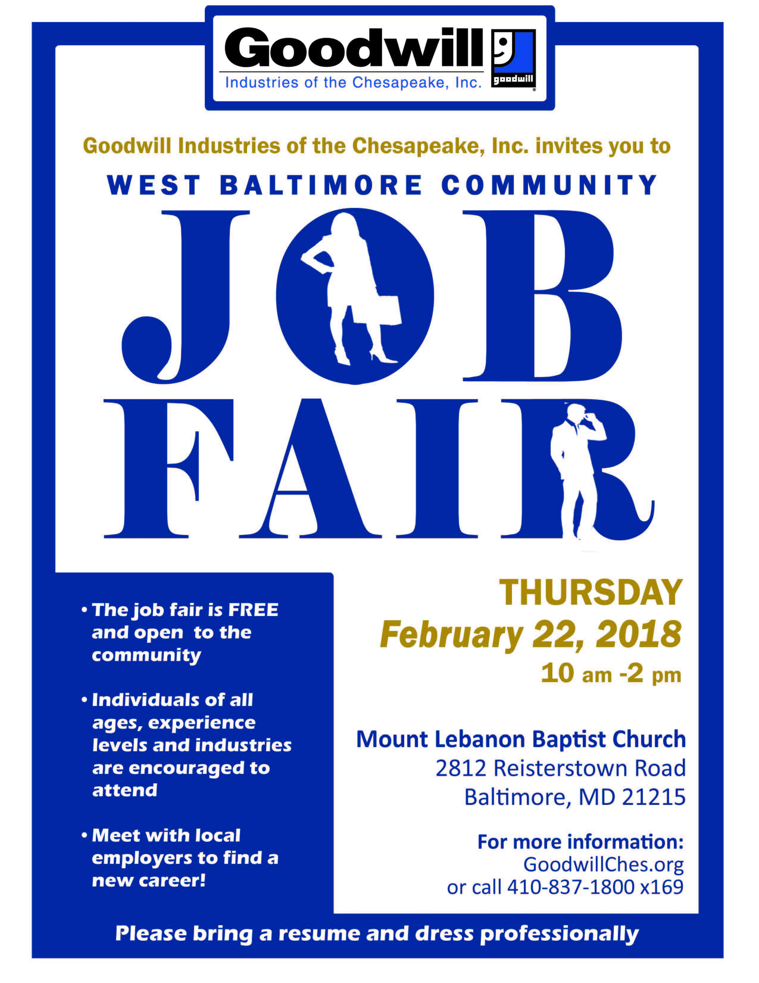 West Baltimore Community Job Fair @ Mount Lebanon Baptist Church | Baltimore | Maryland | United States